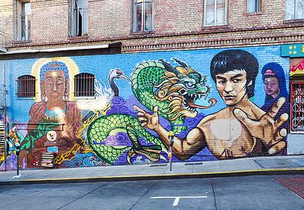 旧金山的唐人街李小龙涂鸦图片
