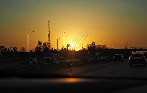 美西高速日落黄昏图片