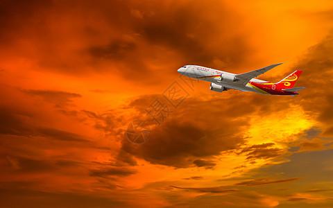 黄昏下的飞机图片