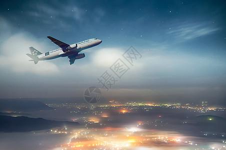 夜空里的航天飞机图片