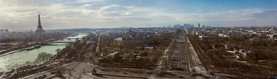 鸟瞰巴黎城区全景图片