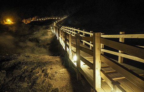登别地狱谷夜景鬼火之路图片