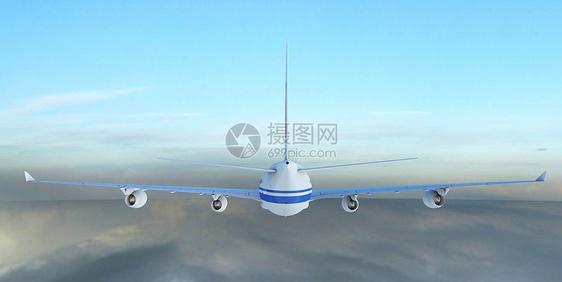 飞机的背影图片