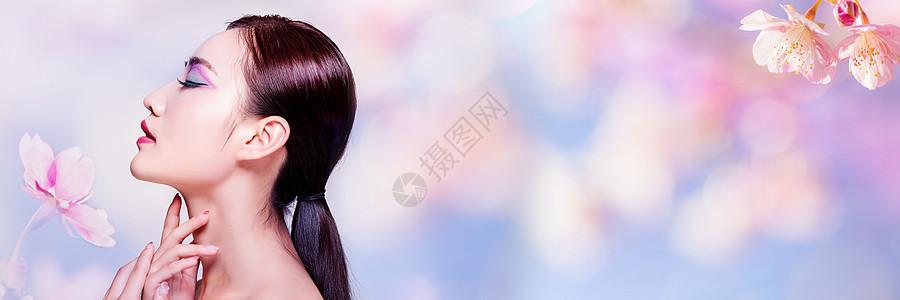 花朵背景彩妆banner图片