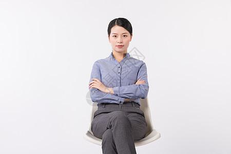 商务白领职场女性坐在椅子上图片