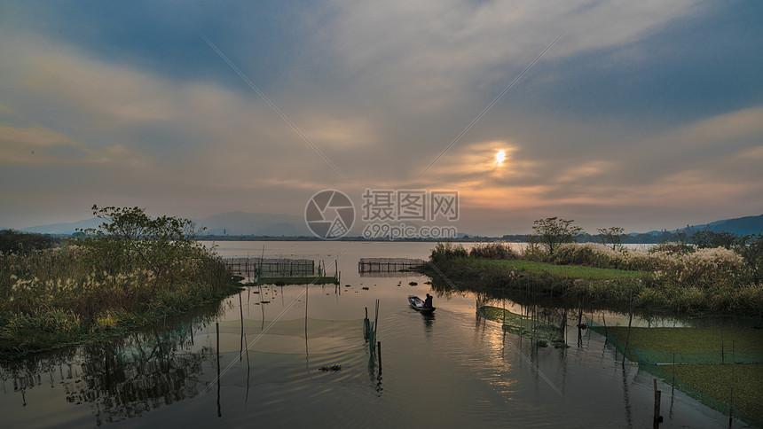 浙江德清下渚湖国度湿地公园日落图片