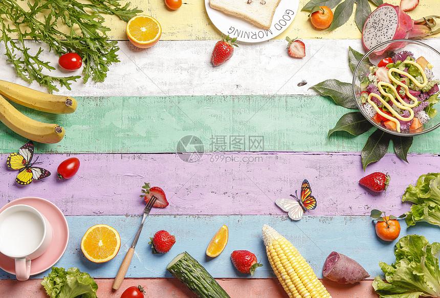 春季美食配景图片
