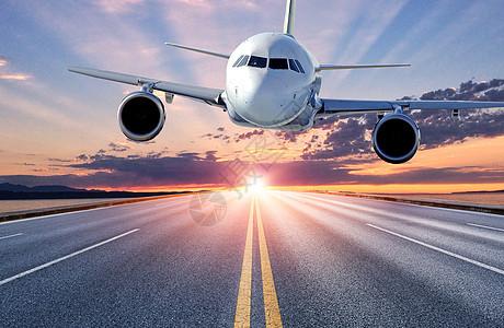 马路上空的飞机图片