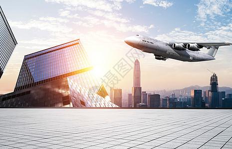 城市上方的飞机图片