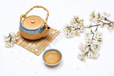 樱花和日式茶具图片