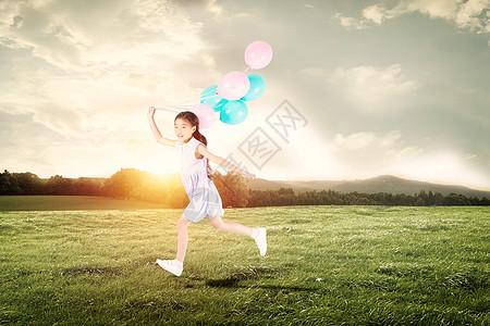 放飞气球的孩子图片