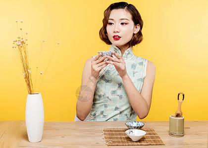 民国风古典美女演绎茶文化图片