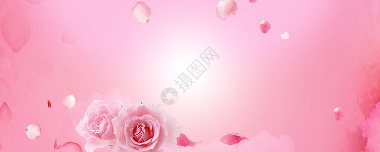 美容浪漫粉红海报背景图片