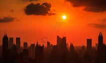 上海城市日落剪影图片