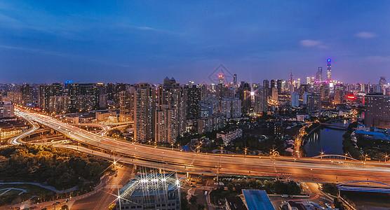 上海高架桥城市风光全景图图片