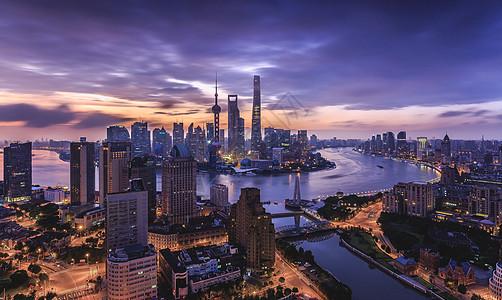 鸟瞰上海陆家嘴日出图片