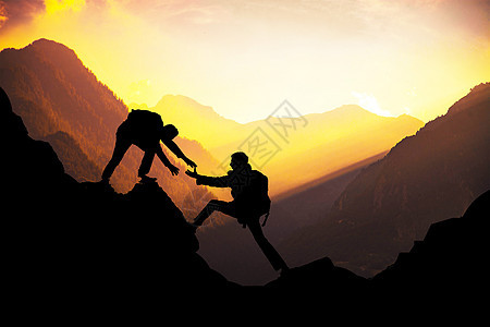 登山励志场景图片
