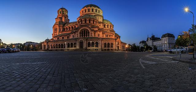 保加利亚索菲亚大教堂夜景全景图图片