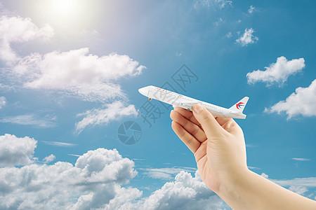 空中飞行的航空飞机图片