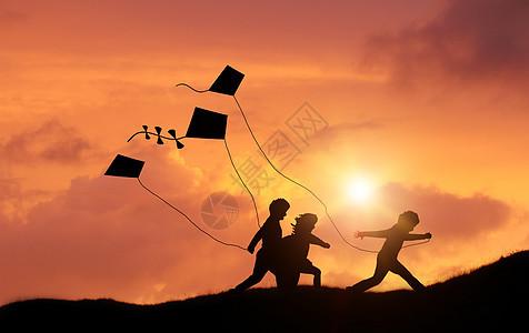 放风筝剪影图片