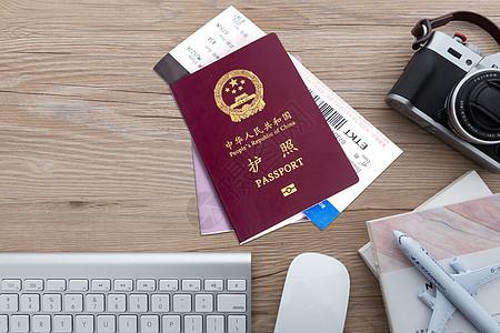 护照飞机票 背景图片