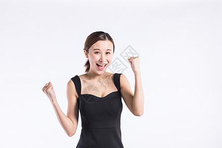 青年职业女性加油欢呼图片