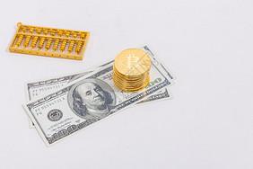 算盘银币纸币现金图片