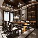 新中式餐厅效果图图片