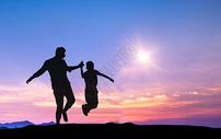夕阳下父子剪影图片
