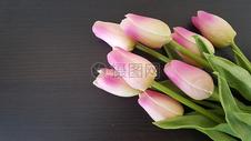 木板上的郁金香花束图片