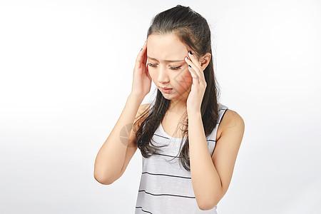 青年女性头痛动作表情图片