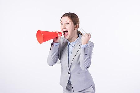 外国商务女性用喇叭喊话图片