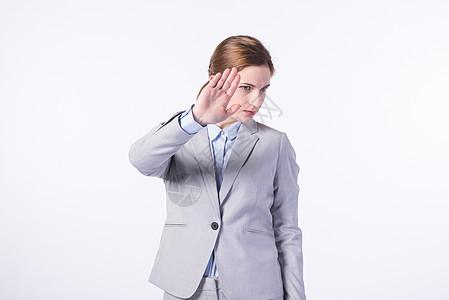 外国商务女性拒绝手势图片