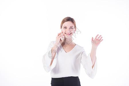 外国女性白领用手机打电话图片