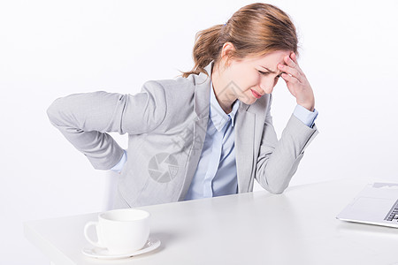 外国商务女性身体疼痛图片