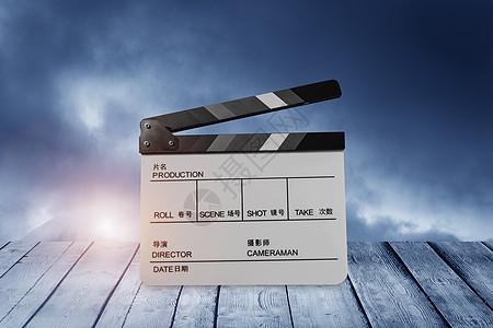 电影场记板与影片胶卷图片