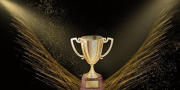 聚光灯下的奖杯背景图片