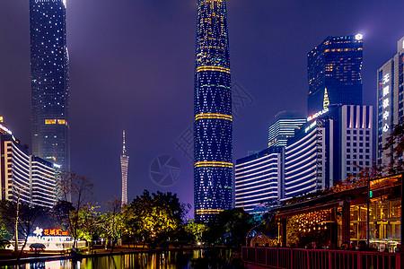 广州珠江新城花城汇广州塔小蛮腰双塔夜景图片