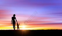 夕阳下母子剪影 图片