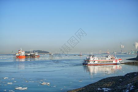 韩国仁川港船只图片