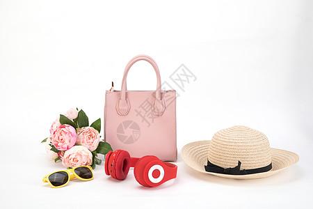 女性草帽耳机眼镜素材图片