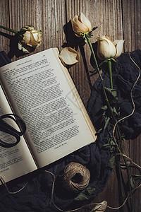 阅读之美暗调书籍花卉生活图片