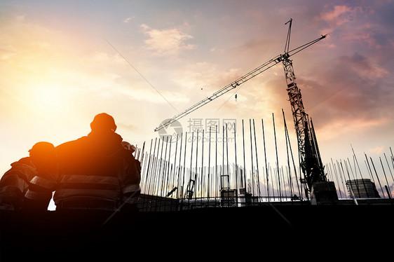 建筑工人剪影图片
