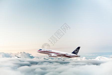 云层上的飞机图片