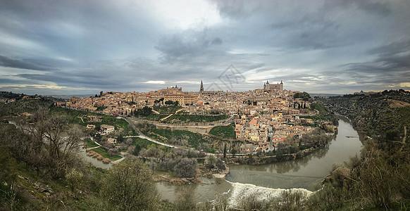 西班牙托莱多古城全景图图片