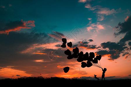 夕阳下拿气球的小女孩图片