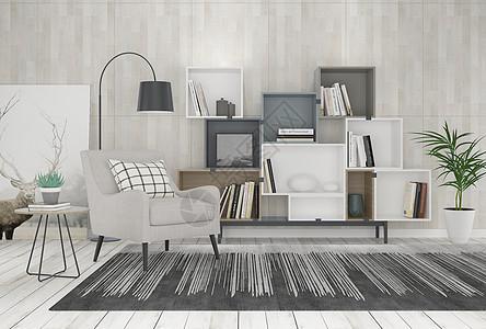 单椅书柜落地灯组合图片