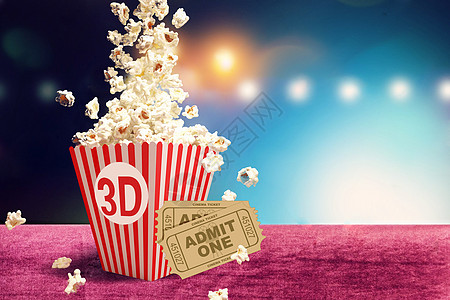 3D电影票与爆米花图片