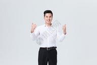 商务男性形象大拇指点赞图片
