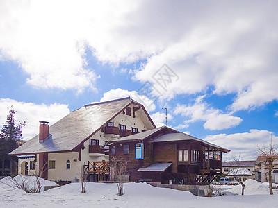 日本白马村雪景图片
